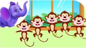 Five Little Monkeys Jumping on the Bed – Nursery Rhyme with Karaoke