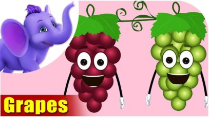 Grapes Fruit Rhyme for Children, Grapes Cartoon Fruits Song for Kids
